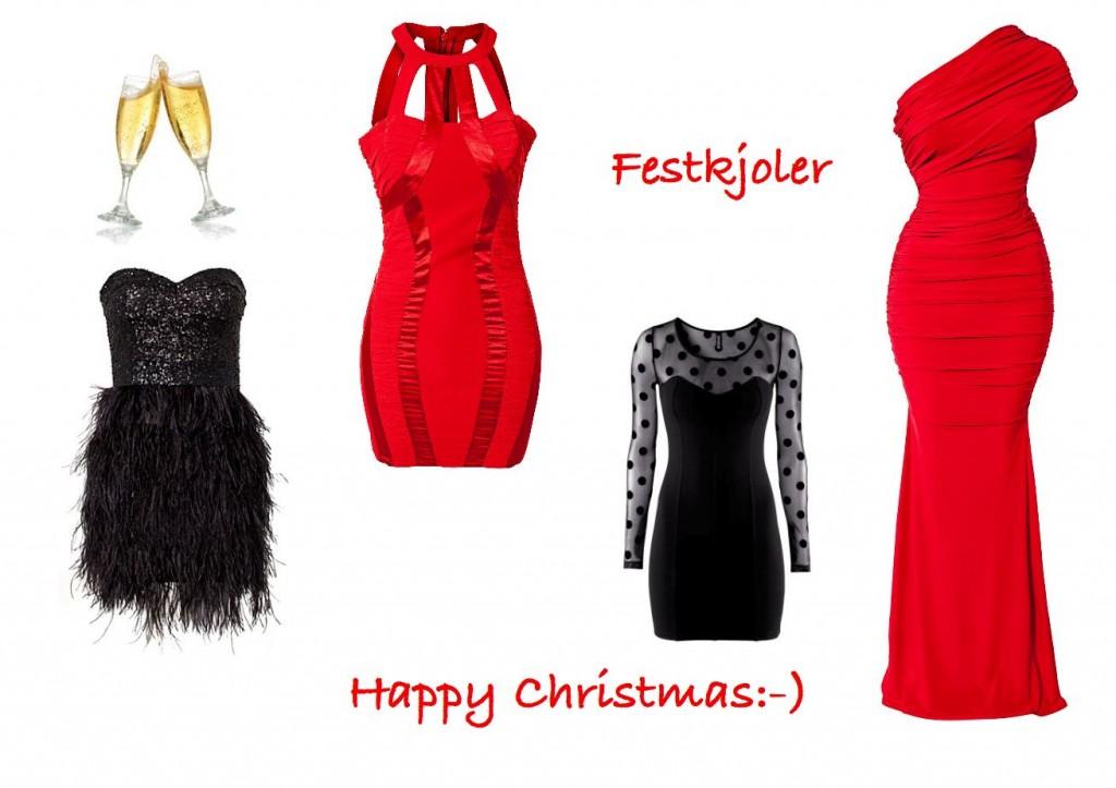 c5837232 Sort kjole med fjær fra Nelly, rød kjole fra Nelly, sort kjole med prikker  H&M og lang rød kjole fra Nelly.